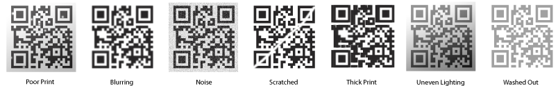 Hard to read conditions for QR Codes