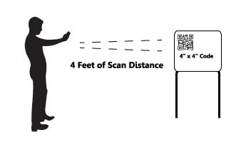 "4 feet of scan distance for 4"" x 4"" code"