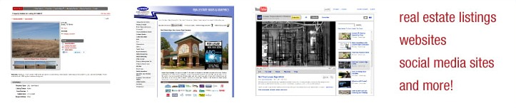 Real estate listings, websites, social media sites, and more!